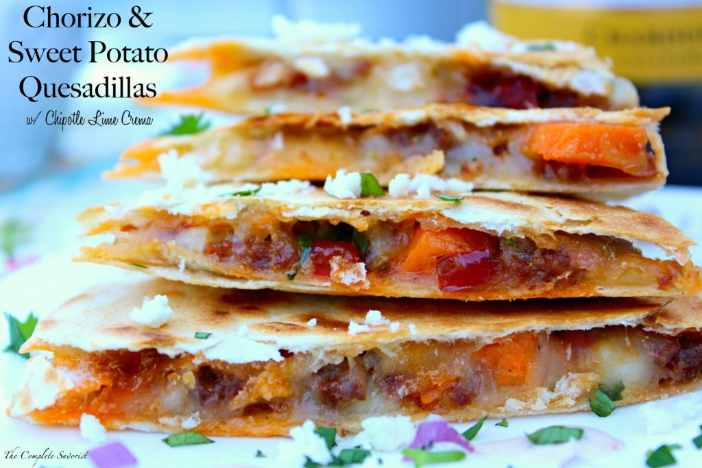 Chorizo and Sweet Potato Quesadillas with Chipotle Lime Crema ~ Mexican chorizo, sweet potatoes, and red pepper in a cheesy quesadilla topped with a chipotle lime crema ~ The Complete Savorist #SummerVino ad