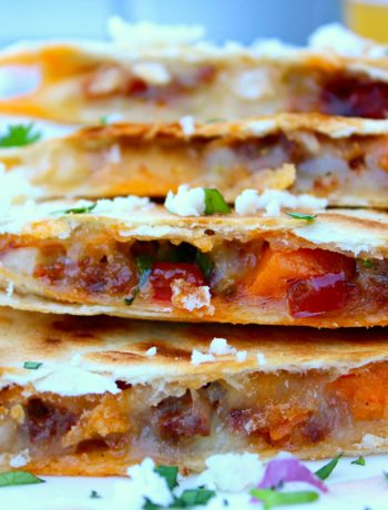 You can see both the sweet potatoes and chorizo in these Quesadillas