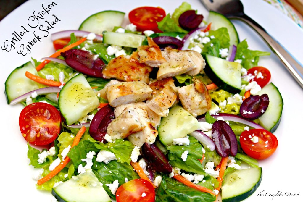 Grilled Chicken Greek Salad ~ Light, healthy, and delicious, grilled chicken breasts over a bed of romaine, with kalamata olives, tomatoes, red onion, cucumber, and feta cheese dressed in lemon dill vinaigrette ~ The Complete Savorist