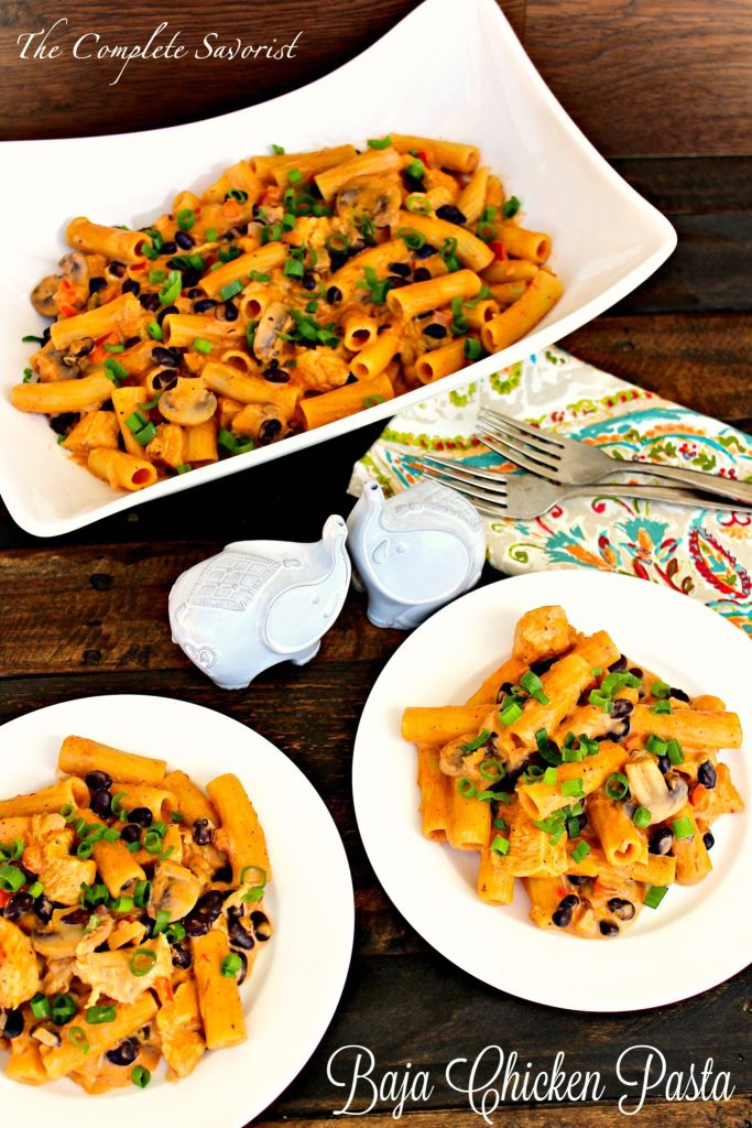 Baja Chicken Pasta ~ A Mexican twist on your favorite cheesy pasta with salsa, black beans, mushrooms, onions, peppers, and spices in a two cheese sauce ~ The Complete Savorist