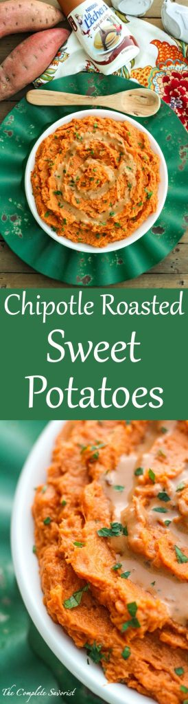 Chipotle Roasted Sweet Potatoes ~ A dulce de leche and chipotle sauce whipped into roasted sweet potatoes spicing up this holiday favorite ~ The Complete Savorist #DulcedeLecheDay ad