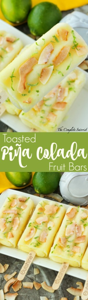 Toasted Piña Colada Fruit Bars ~ Pineapple fruit bars sprinkled with toasted flake coconut and fresh lime zest for a tangy twist on the classic flavor duo ~ The Complete Savorist