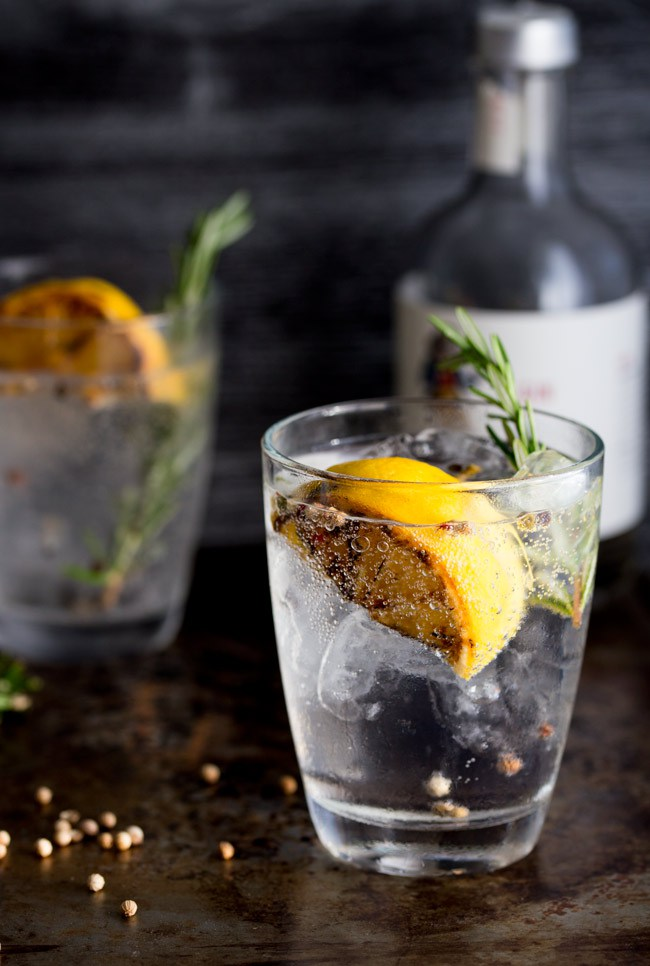 Charred Lemon, Rosemary and Coriander Gin & Tonic by Sprinkles and Sprouts