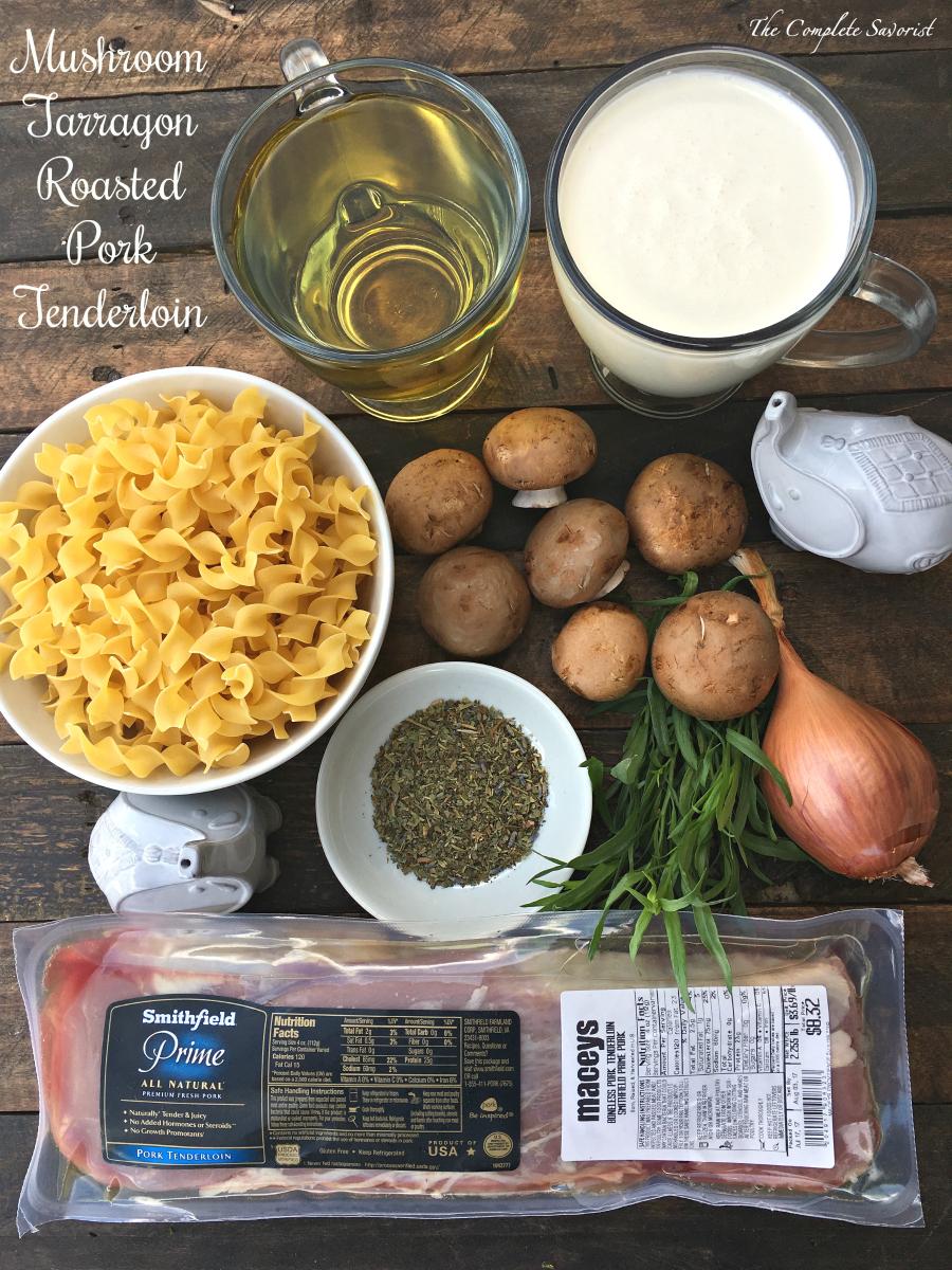Mushroom Tarragon Roasted Pork Tenderloin ~ Seasoned, seared, and pan roasted pork tenderloin with an herbaceous mushroom tarragon pan sauce ~ The Complete Savorist by Michelle De La Cerda