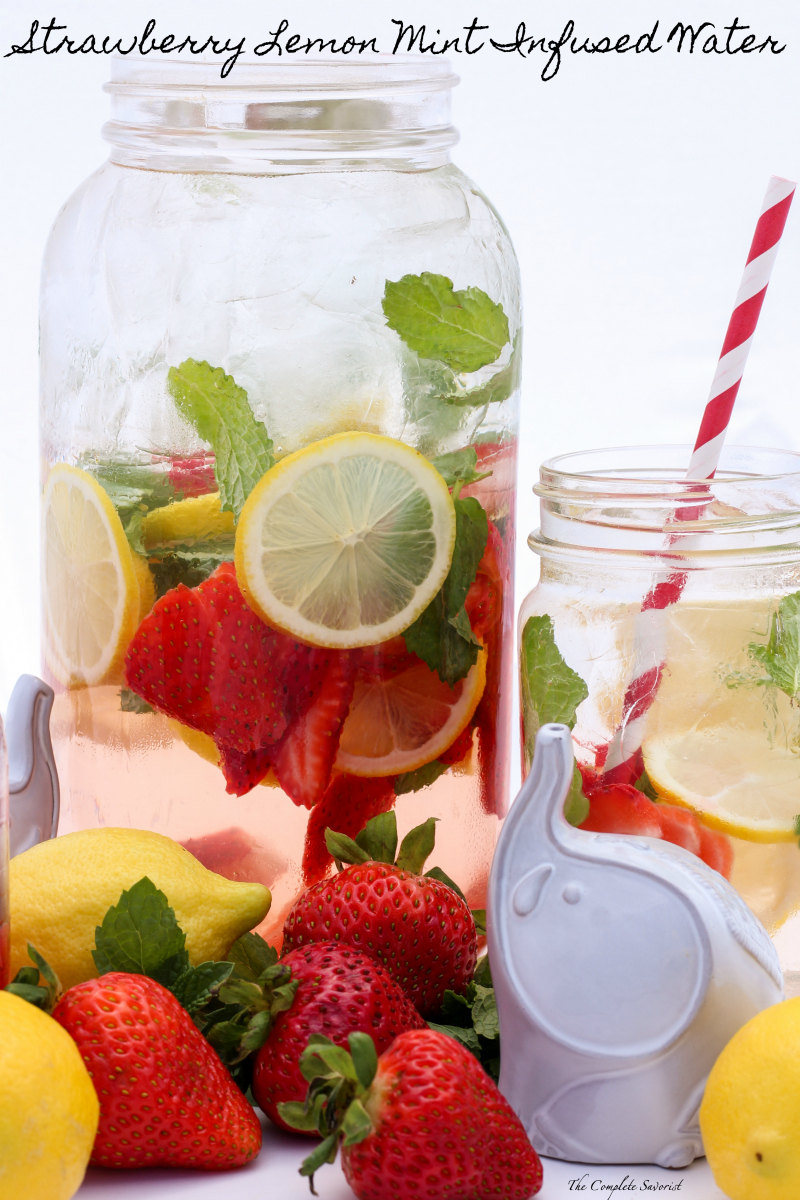 Strawberry Lemon Mint Infused Water ~ Steeped strawberries, lemon, and mint in chilled water is a refreshingly delicious way to get your daily intake ~ The Complete Savorist by Michelle De La Cerda
