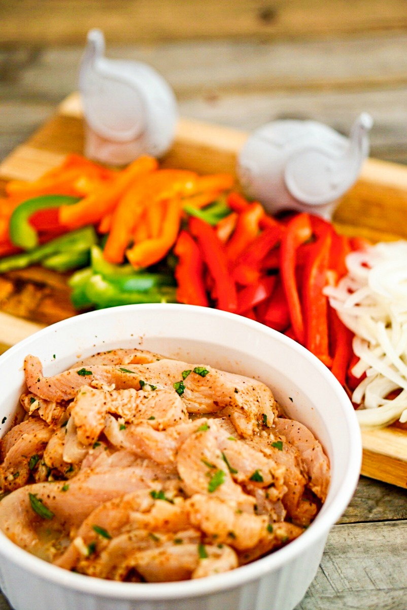 Citrus Marinated Skillet Chicken Fajitas ~ Succulent chicken breasts sliced into strips and marinated in herbs, spices, and fresh citrus juices, skillet cooked with onions and peppers for a quick, hearty, wholesome family dinner ~ The Complete Savorist by Michelle De La Cerda
