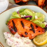 Sweet Tea Brined Grilled Chicken ~ Everyone's favorite white meat brined in sweet tea and grilled to succulent perfection during a causal weeknight night cookout.