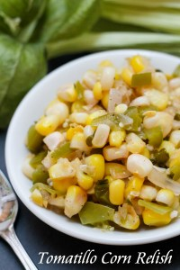 Tomatillo Corn Relish ~ Simple, easy, seasonally fresh, and utterly versatile, this relish is light and has an unexpected secret ingredient