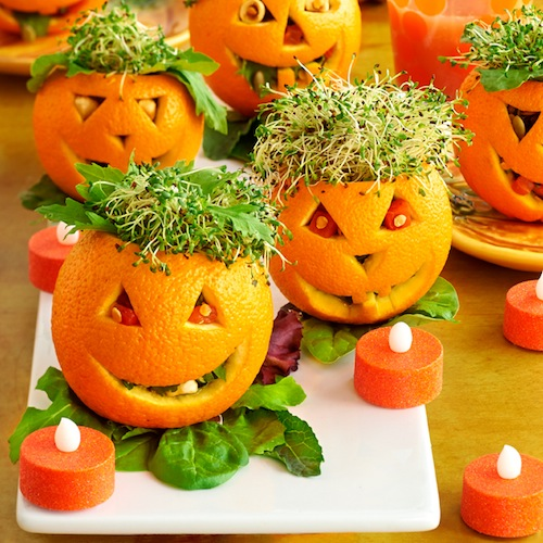 Ranch Spinach Dip Served In Jack-O-Lantern Peppers will be the hit of your Halloween gathering because they make the belly and the eyes happy!