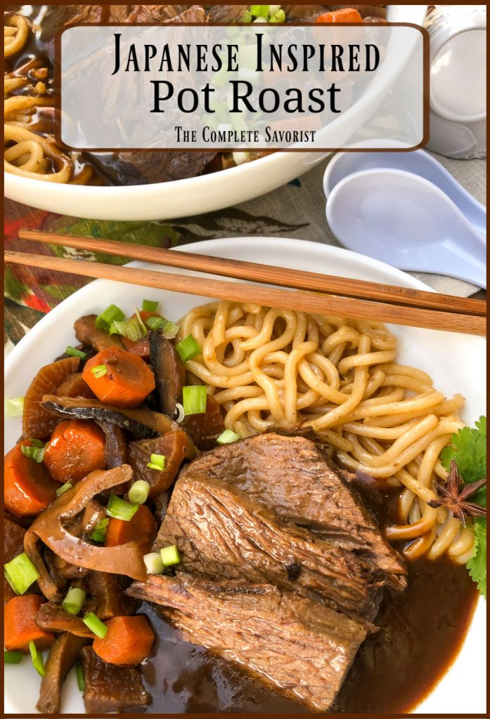 Individually portioned serving of Japanese inspired pot roast with vegetables, udon, and gravy.