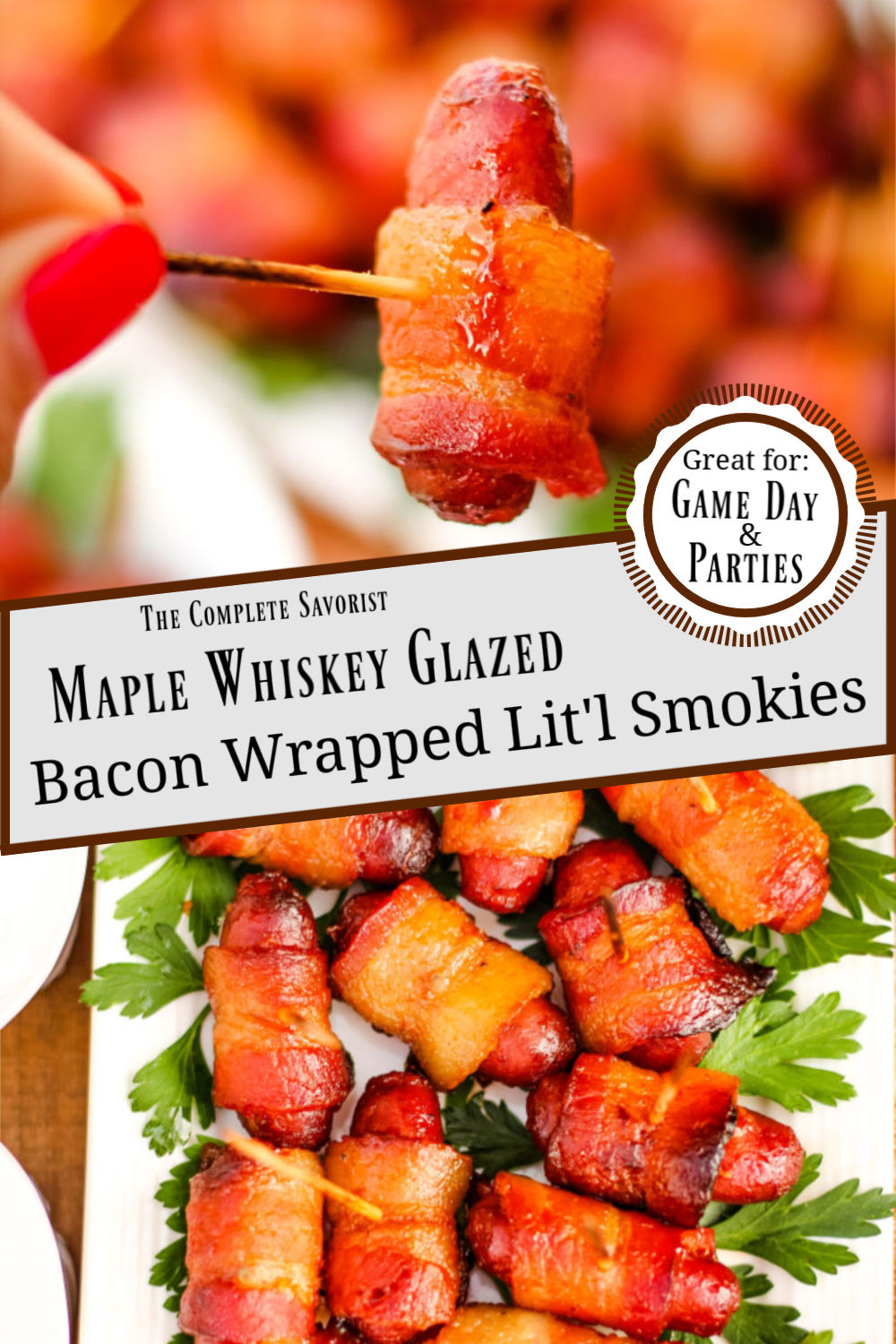 Split image of the Maple Whiskey Glazed Bacon Wrapped Lit'l Smokies®, one on a toothpick and the other on plated and on a platter.