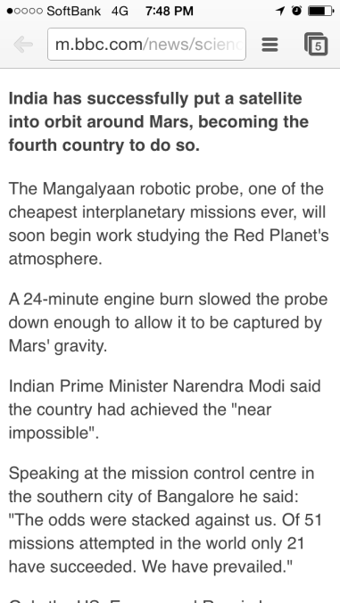 "Indian Prime Minister feels a 40% success rate = ""near impossible."""
