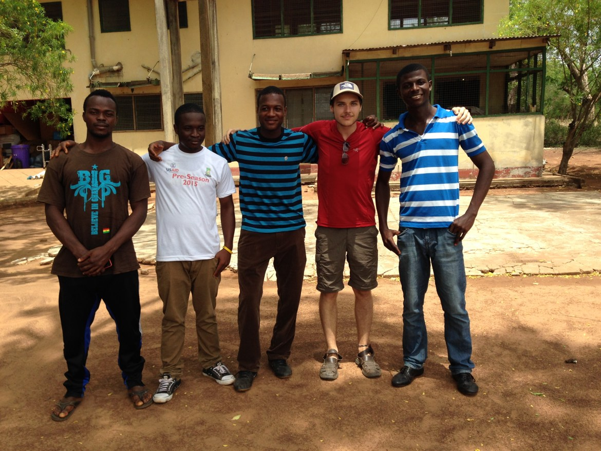 Desharnais (4th from the left), with Adongo (centre) along with other community members of Nabogo, Ghana. Photos courtesy of Maxime Desharnais.