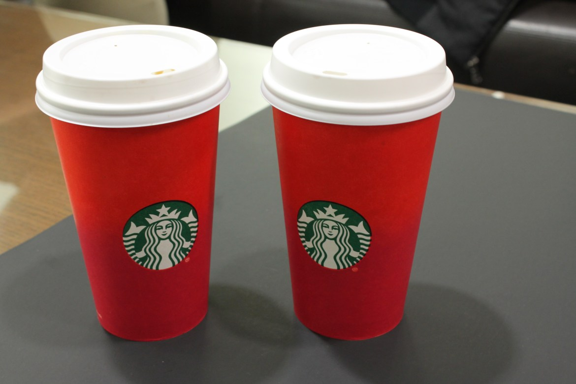 Exhibit A: The offending Starbucks' holiday cup. Photo by Marco Saveriano.