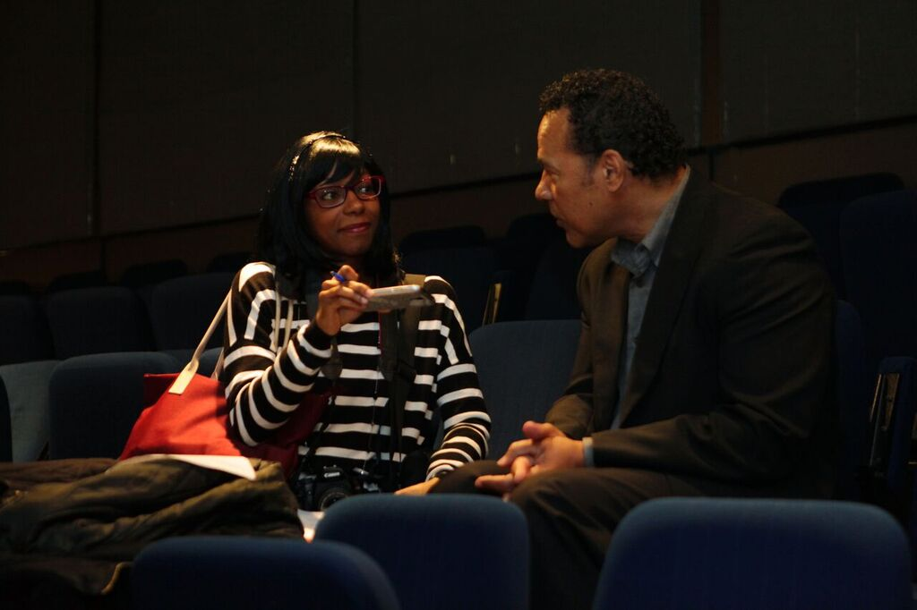 The Concordian's reporter, Marcelline Selman, interviewing Anthony Sherwood.