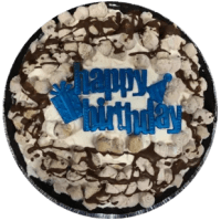 Cookie dough with chocolate chunks blended with vanilla ice cream then cookie dough, chocolate chunks, & chocolate dip top added on top. **Crust contains gluten. Egg-free. Cookie dough is made in facility with peanuts.**