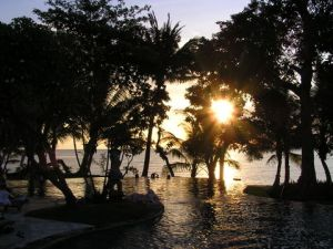 Sunset from the swimming pool of the Puri Bagus Resort, Lovina