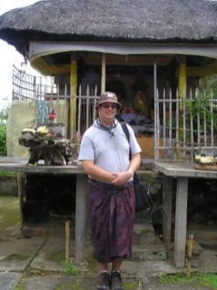 Modestly dressed in my sarong at the rice temple
