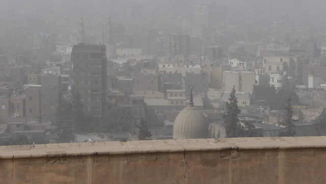 Cairo from the Citadel, almost visible through the dense fog