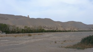 Grottoes and sand dunes at Mogao