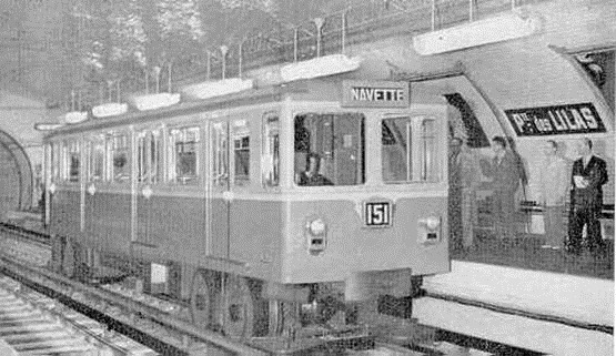The first ever rubber-tyred Parisian Metro at the Porte-des-Lilas station.