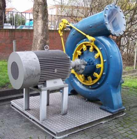 External Francis Turbine attached to a dynamo.