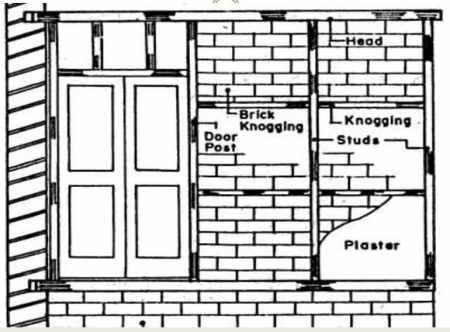 Timber framework in brick nogging partition wall