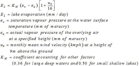 Meyer's Formula for Evaporation Estimation