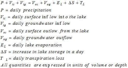Water Budget Method for Evaporation Estimation