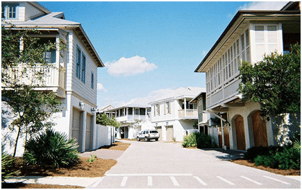 A pervious concrete street in Rosemary Beach, Florida. This concrete was 10 year at the time of photograph.