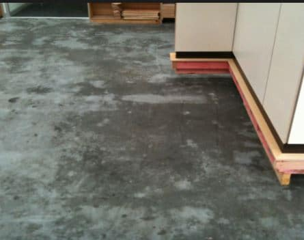 Dampness on concrete surface