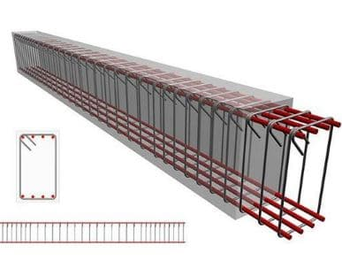Designed beam with detailed reinforcement