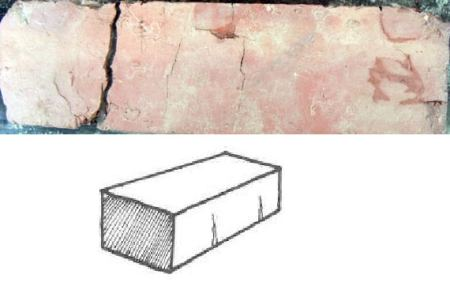 brick straight cracking on one of long surfaces