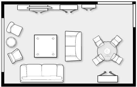 size of a living room swivel armchair for standard rooms in residential building and their locations