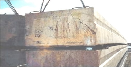 Crack in Concrete due to Sulphate Attack