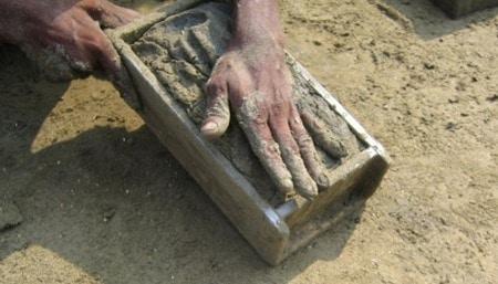 Hand Molded Earthen Brick Production