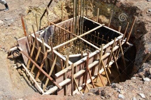 Excavated Region for Pile Cap Construction