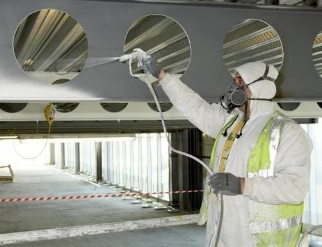 Application of Intumescent Pain at Construction Site