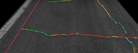 Detection of transverse cracks using laser crack measurement system