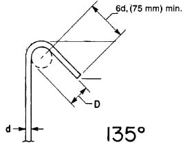 seismic stirrup, 135degree