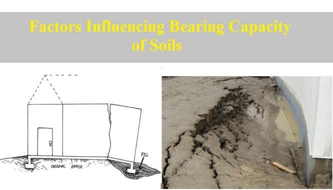 Factors influencing bearing capacity of soils