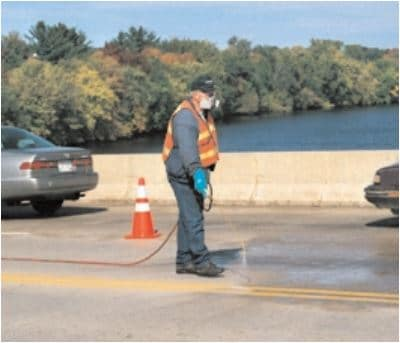 Penetrating sealers help protect reinforcing steel in bridge decks from corrosion due to chloride infiltration without reducing surface friction. (69976)