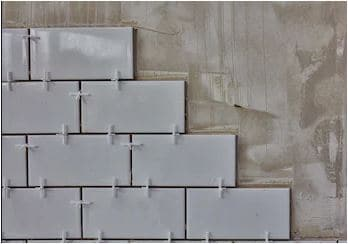 Tile Spacers Placed for Wall Tiles