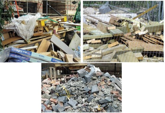Pile of Various Mixed Waste of Construction Materials Created Mess Which Could have been Prevented by Putting Them into Containers