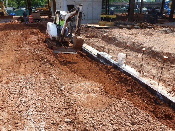 Backfilling and compaction along foundation wall.