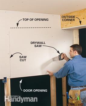 Cutting Drywall for Door Opening-Image Courtesy-familyhandyman