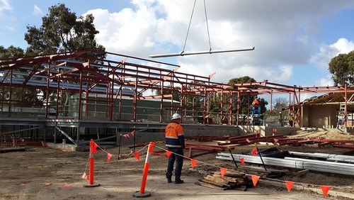 Safety at structural steel site.