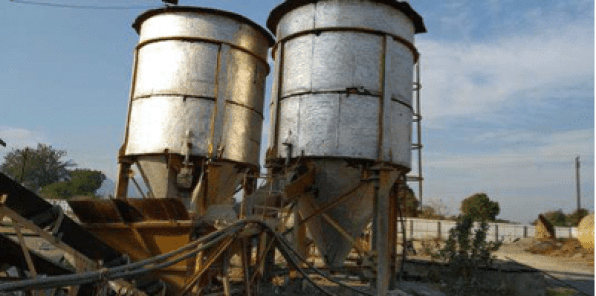 Set up silos for storage of the cementitious products