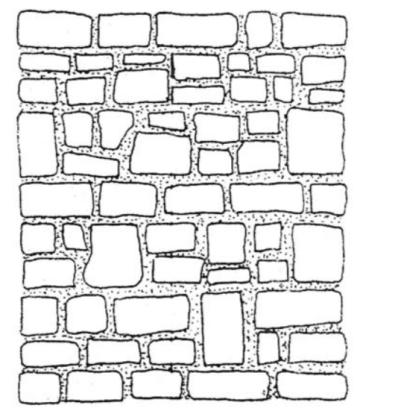 Stone masonry construction.