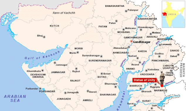 location map of statue of unity